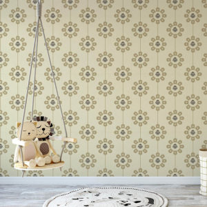 Bird in a Circle Pattern P18 in Gray on Yellow on Wallpaper for Kids Room