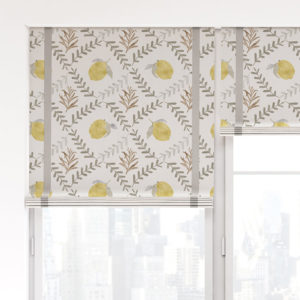Lemon Tile Vector Pattern P1387 in Gray on Window Treatments