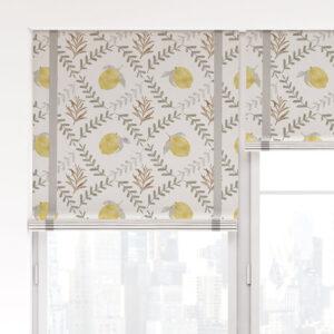 Lemon Tile Vector Pattern P1387 in Gray on Window Treatments