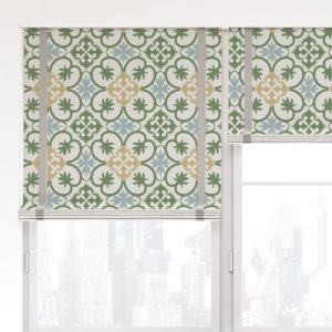 Portugal Tile Vector Pattern P1388 in Green on Window Treatments for Home, Hotel or Restaurant