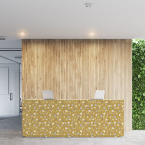 Geometric Tossed Leaves Pattern P328 in Yellow on Wallpaper for Office Lobby or Front Desk