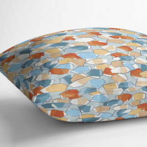 Watercolor Modern Pebbles Vector Pattern P962 in Blue on Pillow
