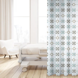 Plaid with Circles Pattern P283 in Aqua on Privacy Curtain for Hospital