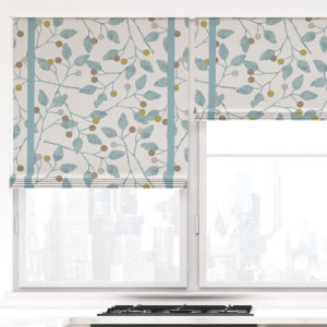 Leaf and Berry Pattern P78 in Aqua on Window Shades for Kitchen or Family Room