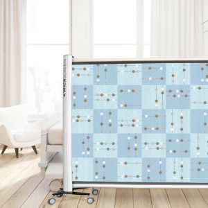 Geometric Squares with Dots Pattern P316 in Blue on a Kwickscreen Hospital Privacy Screen