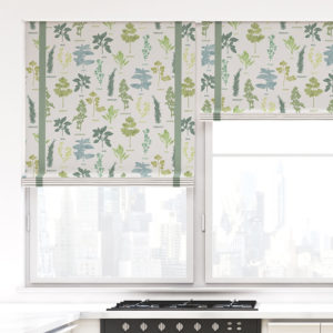 Floral Herbs Vector Pattern P950 in Green on Window Treatments