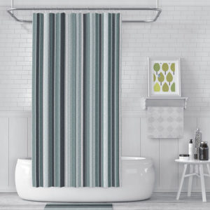 Barcode Stripe Vector Pattern P1309 in Blue on Shower Curtain for Home or Hotel