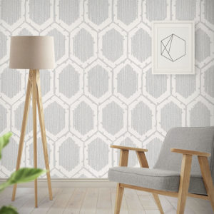 Birch Tree Hexagon Pattern P381 in Gray as Wallpaper for Home Office or Hotel