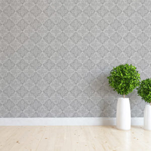 Quatrefoil Overlay Pattern P32 in Gray on Wallpaper for home or hotel