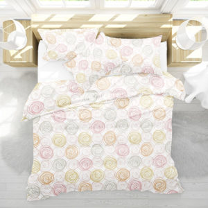 Hand Drawn Circles Pattern P112 in Pink on Bedding for Home or Hotel
