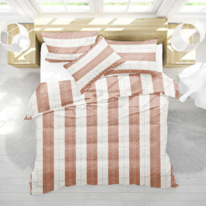 Stripe Stitched Plaid Pattern P1446 in Orange on Bedding for Home or Hotel