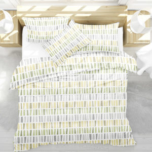 Ikat Tribal Stripe Pattern P1451 in Yellow on Bedding for Home or Hotel