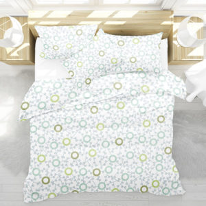 Eyelet Lace Pattern P280 in Aqua on Bedding for Home