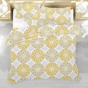 Geometric Flower Pattern P281 in Yellow on Bedding for Home or Hotel