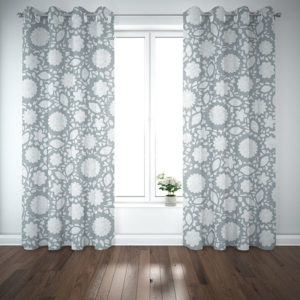 Floral Eyelet Lace Pattern P286 in Aqua on Curtains for Home or Hotel