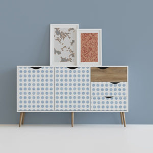 Textured Polka Dot Pattern P31 in Blue on Removable Wallpaper on a Dresser for Home