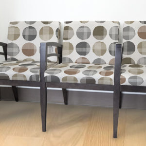 Circle Plaid Pattern P1390 in Gray on Chairs for Reception Seating in Healthcare