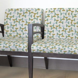 Semi Circle Stitch Pattern P231 in Aqua Upholstered on Chairs for Reception Seating