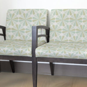Floral Starburst Pattern P262 in Aqua Upholstered on Chairs for Healthcare