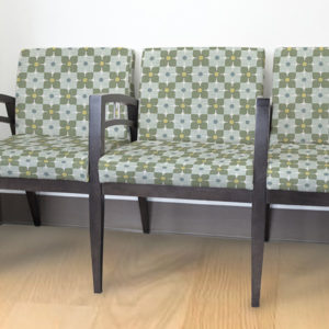 Flower Check Pattern P4 in Green on Reception Seating
