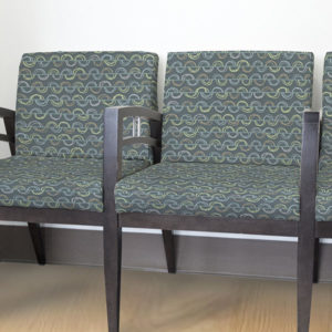 Hand Drawn Semi Circles Pattern P70 in Aqua Upholstered on Reception Seating for Healthcare