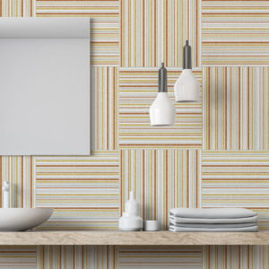 Texture Plaid Pattern P1332 in Orange on Wallpaper for Bathroom Home or Hotel