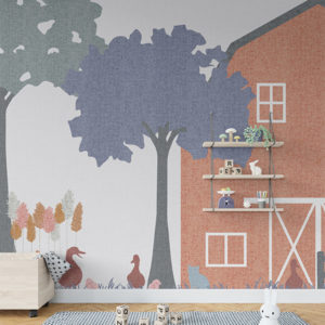 Barnyard Fun Pattern P1454 in Pink on Wallpaper for Kids Room or Hospital Waiting Room