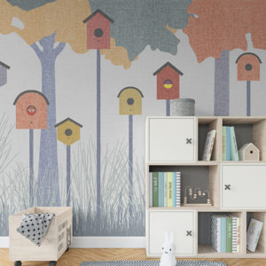 Backyard Fun Pattern P13 in Blue as Wallpaper in a Kids Bedroom or Playroom
