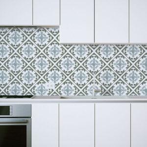Porto Tile Pattern P1385 in Aqua on Backsplash for Kitchen Home, Office or Hotel