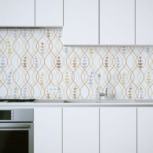 Ogee Plant Pattern P1403 in Orange on Backsplash for Kitchen Home, Office or Hotel