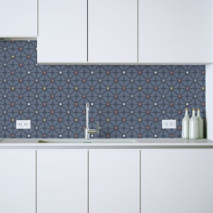 Polka Dot Diamond Pattern P169 in Blue on a Backsplash for Kitchen Home or Office