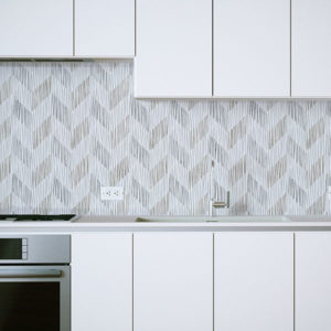 Textured Chevron Pattern P208 in Gray on Backsplash for Kitchen Home, Office or Hotel