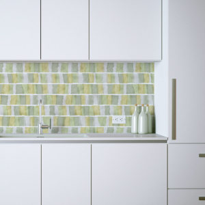 Rectangle Overlay Pattern P312 in Green in Kitchen on Backsplash