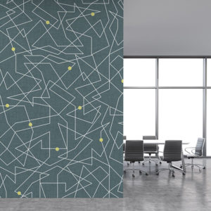 Connect the Dots Pattern P224 in Aqua on Wallpaper for Office or Hotel