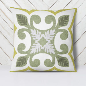 Azulejo Pattern P1382 in Green on Pillow for Home or Hotel