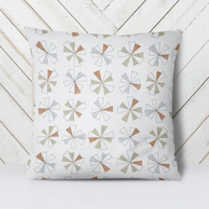 Mini Pinwheels Pattern P159 in Brown on Pillow for Home or Hotel