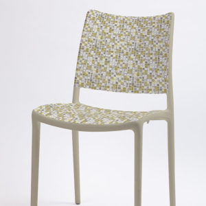 Square Plaid Pattern P303 in Yellow on Stacking Chair for Office