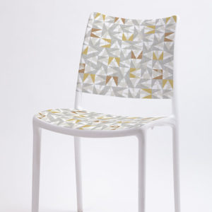 Triangle Overlay Pattern 308 in Gray on Stacking Chairs for Office