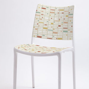 NYC Aerial Pattern P367 in Orange on Stacking Chair for Office