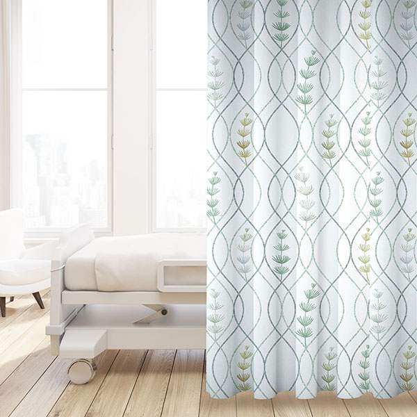 Ogee Plant Pattern P1403 in Aqua on Privacy Curtain for Healthcare