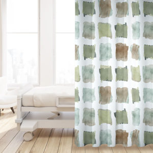 Watercolor Brush Overlay Pattern P1448 in Green on Privacy Curtain for Healthcare
