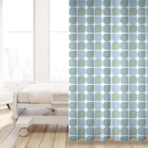 Geometric Floral Pattern P72 in Aqua on Privacy Curtain for Healthcare