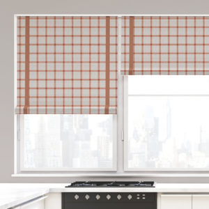 Linen Plaid Pattern P1442 in Pink on Window Treatments for Home or Hotel