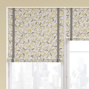 Geometric Floral with Leaves Pattern P285 in Yellow on Roller Shades for Home, Office or Hotel