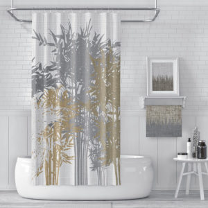 Lucky Bamboo Pattern P1146 in Brown on Shower Curtain for Home or Hotel