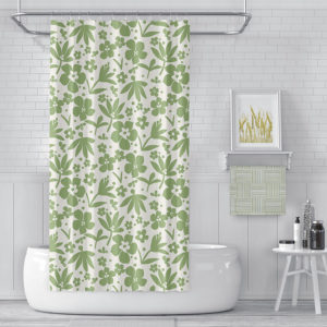 Flower Bee Pattern P1465 in Green on Shower Curtain for Home