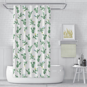 Cactus Tossed Pattern P1468 in Teal on Shower Curtain for Home