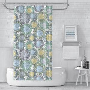 Sunflowers Pattern P1223 in Blue on Shower Curtain for Home or Hotel