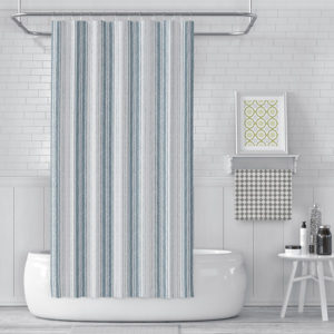 Mirrored Stripe Pattern P1443 in Aqua on Shower Curtain for Home or Hotel