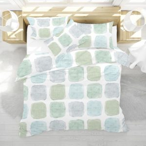 Painted Blocks Pattern P575 in Aqua in Bedding for Home